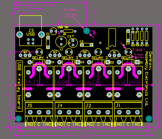 Denkovi USB Four Channel Relay Board PCB